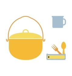 Camping pot mug spoon and fork vector