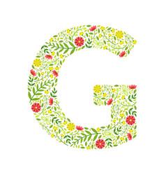 capital letter g green floral alphabet element vector image