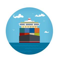 Cargo container ship icon vector