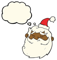cartoon santa claus face with thought bubble vector image