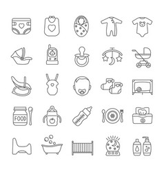 Childcare linear icons set vector