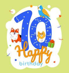 children 10th birthday greeting card vector image