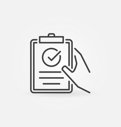 clipboard with checkmark in hand linear vector image