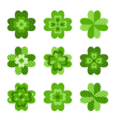 clover leaves set symbol luck vector image