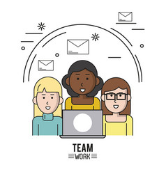 Colorful poster of team work with half body women vector