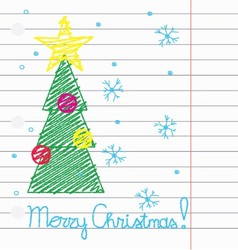 Crayon Merry Christmas vector image