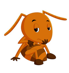 Cute brown ant sadness vector