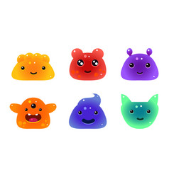 cute funny colorful jelly animals and monsters vector image