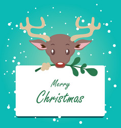 cute stylized reindeer background with sign vector image