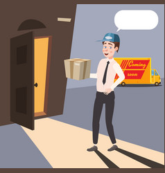 delivery of cargo man with a box at the door of vector image