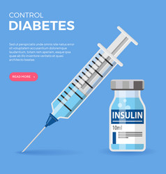 Diabetic insulin vial syringe vector