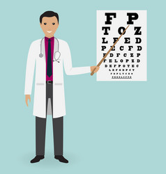 Doctor ophtalmologist points to the vision test vector
