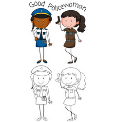 doodle good policewoman character vector image