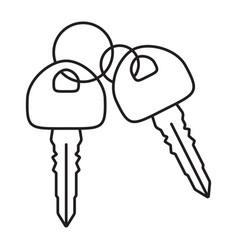 Double car key vehicle or automobile key line vector