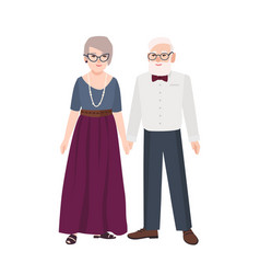 Elegant elderly couple pair of old man and woman vector