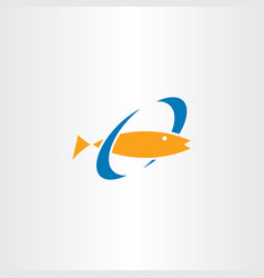 fish swimming in water logo sign element icon vector image