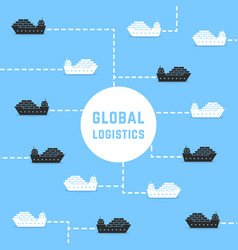 floating cargo ships like global logistics vector image