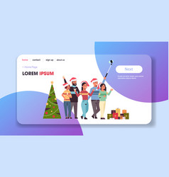 friends celebrating christmas party taking selfie vector image