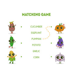 game with cute funny vegetables characters word vector image
