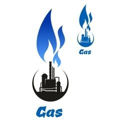 Gas processing black silhouette with blue flame vector image