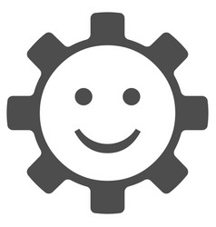 Gear smile smiley flat icon vector
