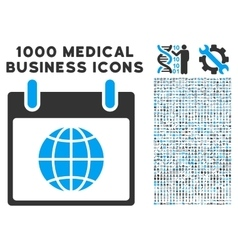 Globe Calendar Day Icon With 1000 Medical Business vector