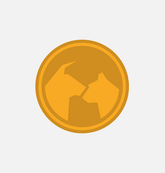 gold money icon with bull and bear how symbol vector image