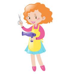 Hairdresser holding pair scissors and dryer vector