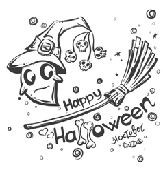 Halloween doodles - Ghost on broomstick vector image
