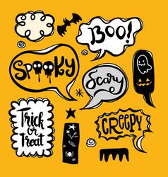 Halloween speech bubbles set with text spooky vector