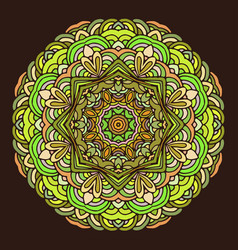 hand drawn mandala colorful on dark background vector image