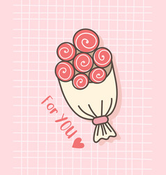 happy valentines day with bouquet flower vector image