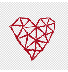 Heart on transparent background valentines day vector