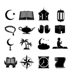 Islam icons set black vector
