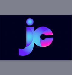 jc j c spink blue gradient alphabet letter vector image