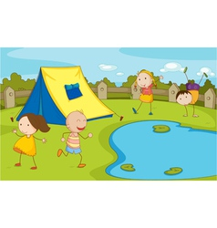 Kids camping vector