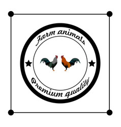 Logos and badges farm animals cocks vector