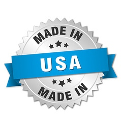 made in usa silver badge with blue ribbon vector image