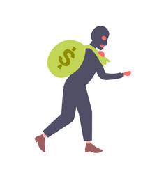 Man in black mask carrying money sack crime robber vector