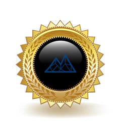 Mithril cryptocurrency coin gold badge vector