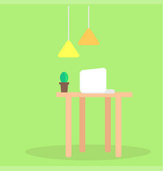 Modern workplace flat concept vector
