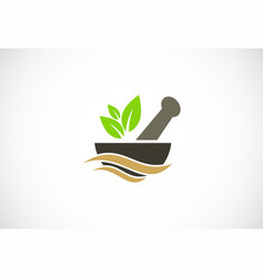 Mortar traditional medicine logo vector