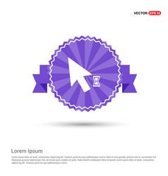 Mousecursor loading icon - purple ribbon banner vector