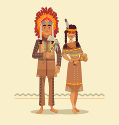 Native american indian couple vector