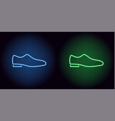 neon man shoe in blue and green color vector image