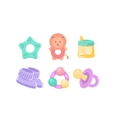 Newborn and bacare icons set nursery vector