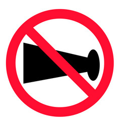 No blowing of horn icon on white background flat vector