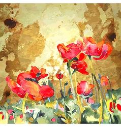 Original watercolor poppy flower in gold vector