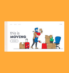 Pair relocation and moving to new house landing vector
