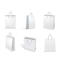 paper bag for shopping set packet template vector image